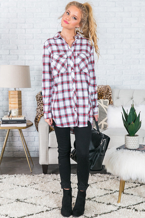 Cabin Weekend Getaway Plaid Tunic In White