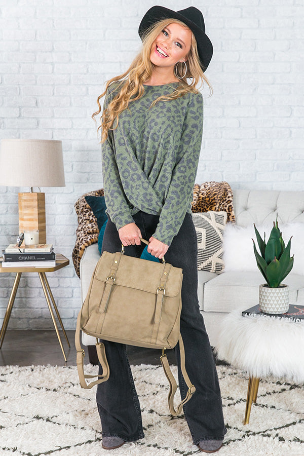 Lounging With Lattes Leopard Sweater In Olive
