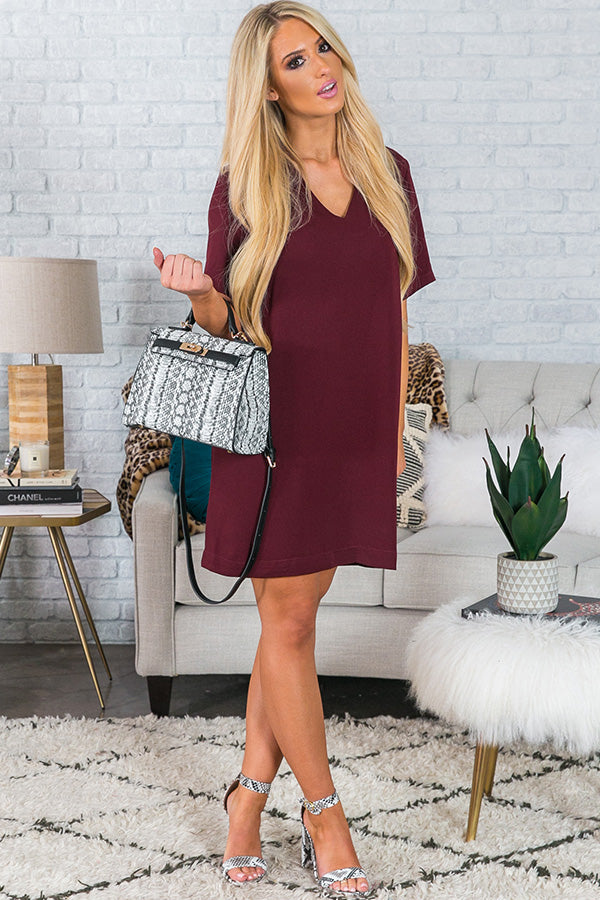 Forget Me Not Shift Dress In Windsor Wine