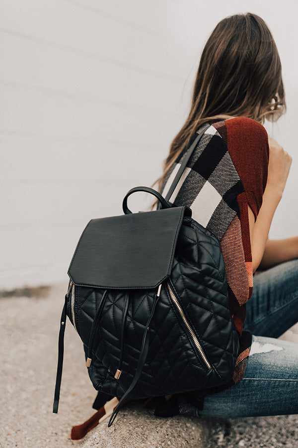 Jetting To Aspen Quilted Backpack in Black