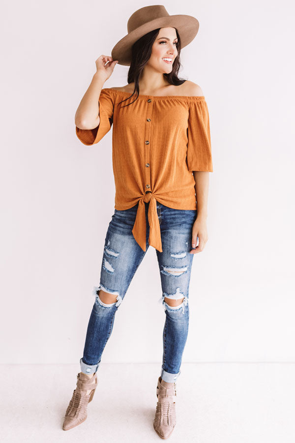 Telluride Retreat Off Shoulder Top In Rust