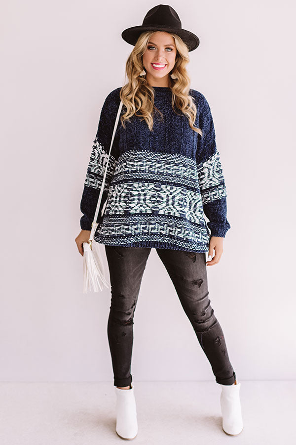 Bonfire Weather Chenille Sweater In Blue