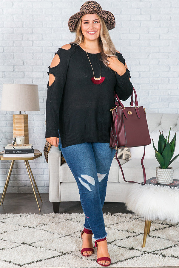 Jetting To Aspen Cold Shoulder Sweater In Black