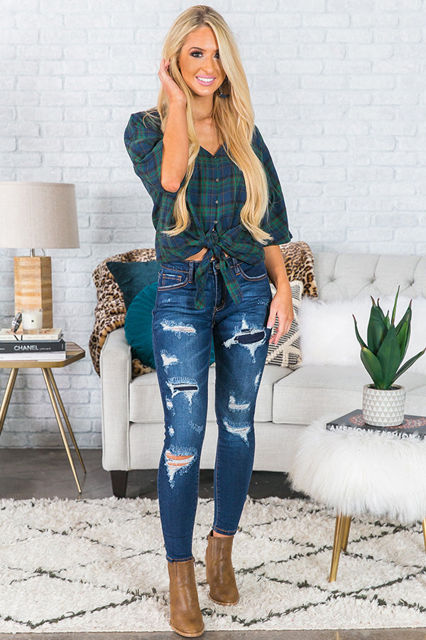Plaid Romance Shift Top In Green