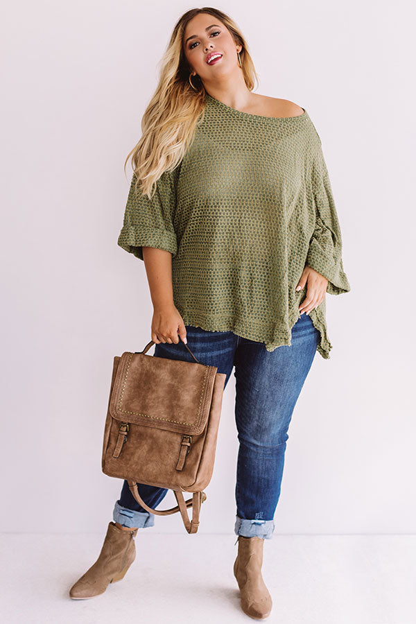Brunch At The Cabin Shift Top In Sage