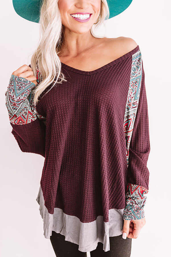 Mountainside Mimosas Waffle Knit Top In Windsor Wine