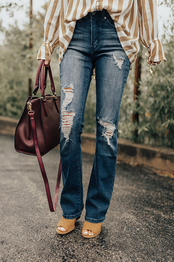 The Lindsey High Waist Distressed Flare