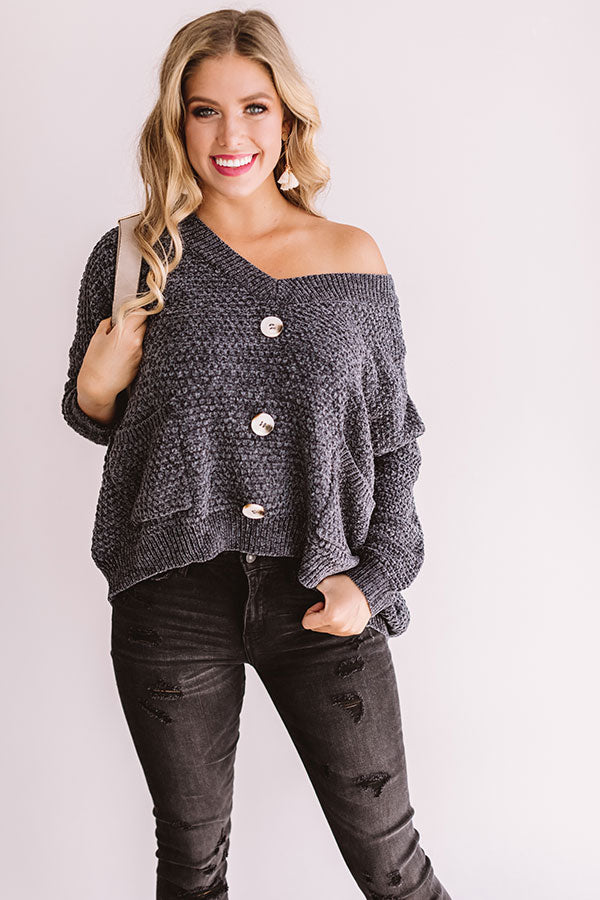 Swoon And Snuggles Chenille Shift Sweater In Charcoal