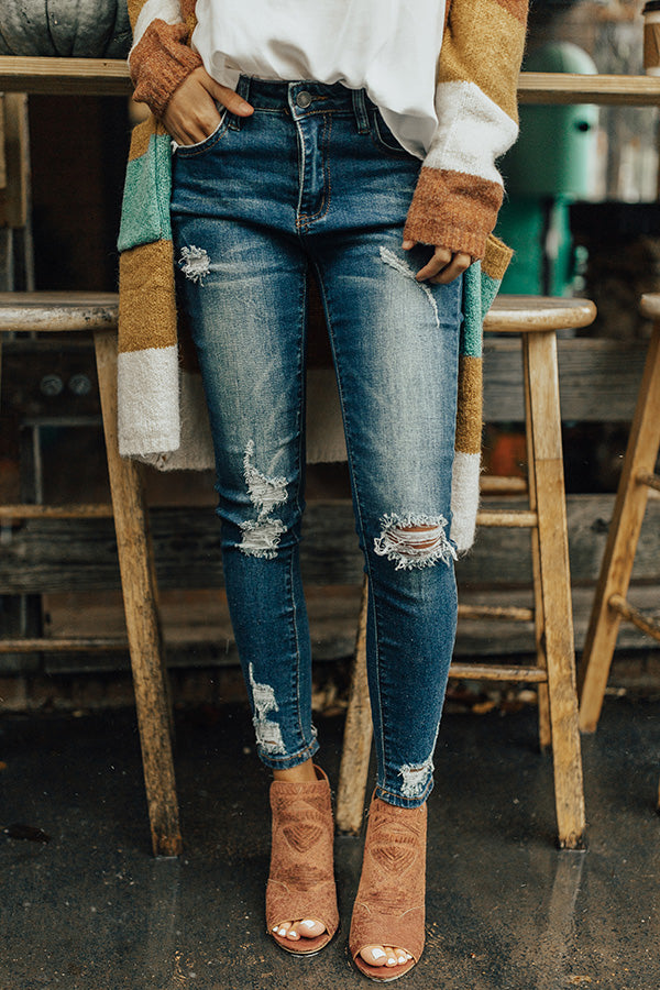 The Adalyn Mid Rise Distressed Ankle Skinny