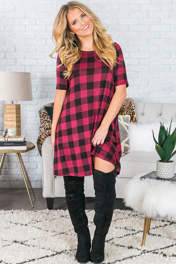 Cider And S'mores Buffalo Check Shift Dress