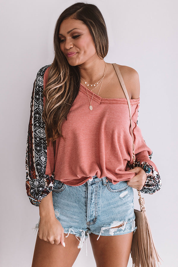 Rome Runway Shift Top in Coral
