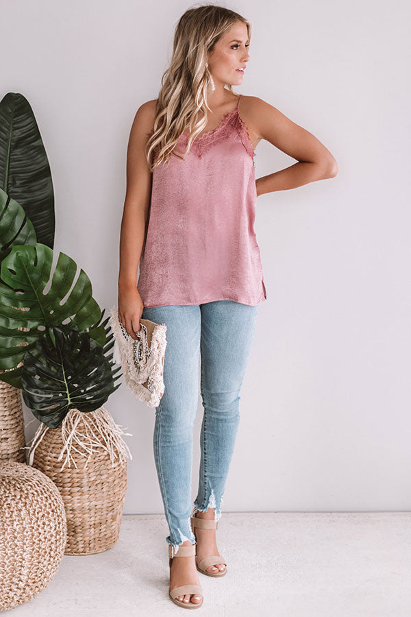 Date Night In Paris Satin Tank In Blush