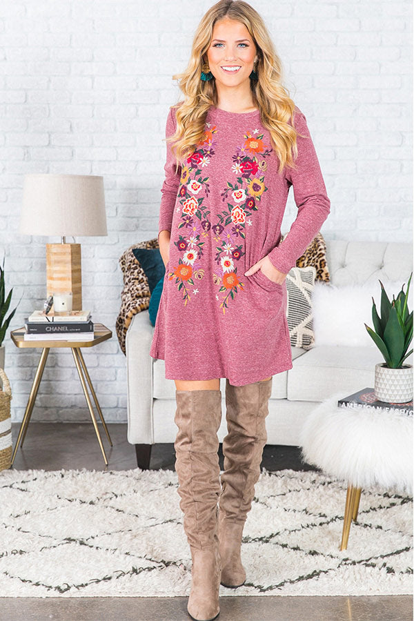 Cabo Chic Embroidered Long Sleeve T-shirt Dress