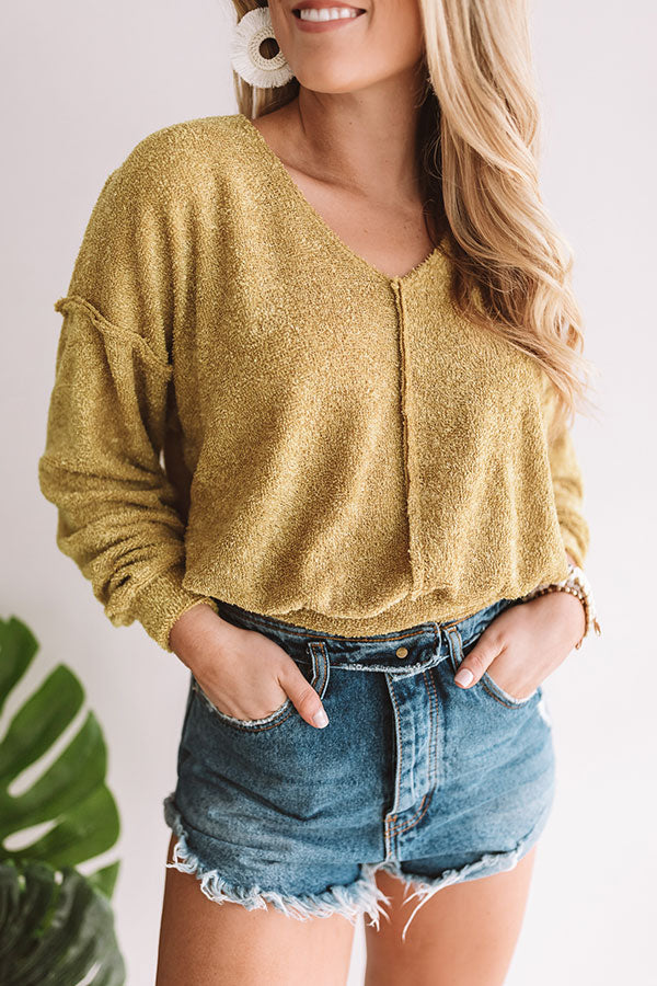 Worth The Hype Crop Sweater In Primrose Yellow