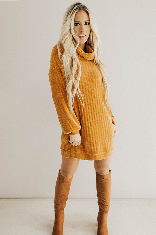 Cozy Classic Chenille Sweater Dress In Camel