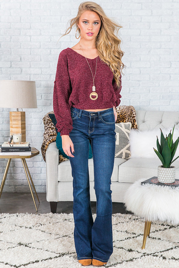 Worth The Hype Crop Sweater In Wine