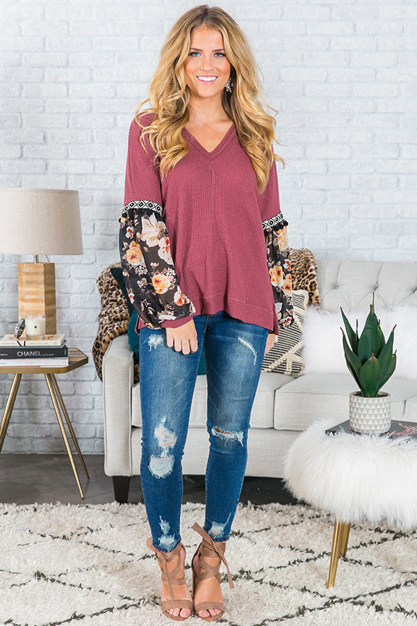 Take Me To Telluride Shift Top in Rustic Berry