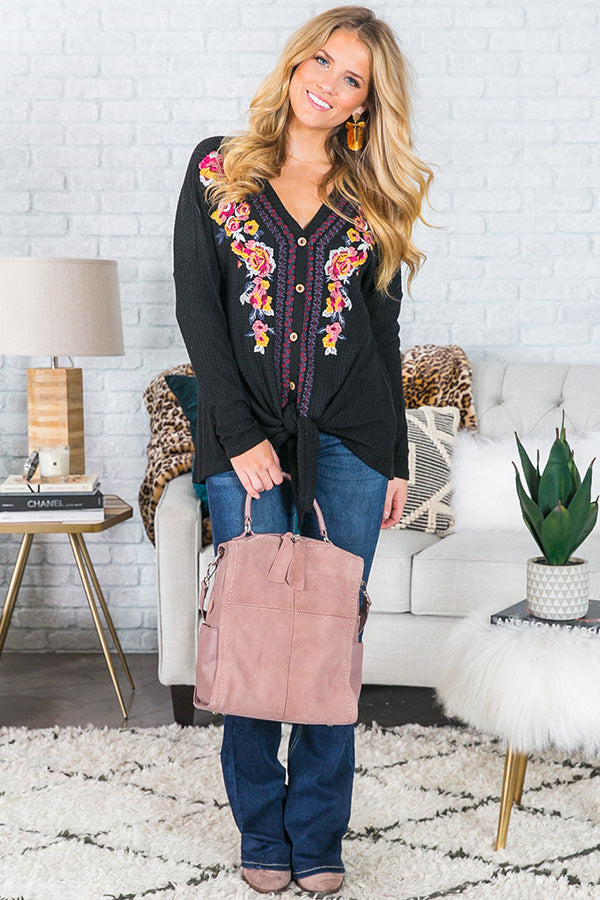 S'more In Love Embroidered Waffle Knit Top In Black
