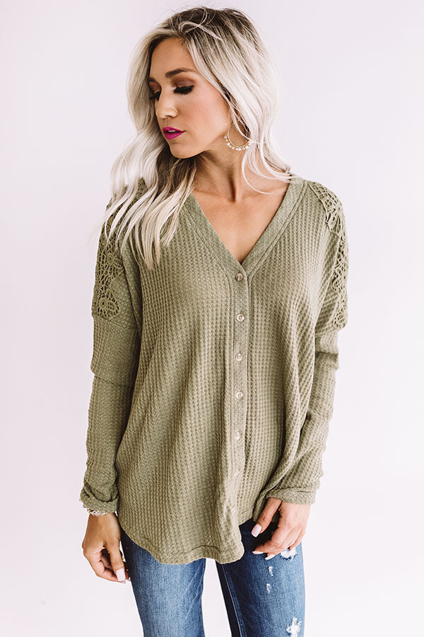 Peace, Love, And Lattes Crochet Top In Sage