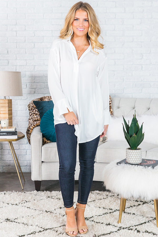 Midnight Kiss Shift Top In White