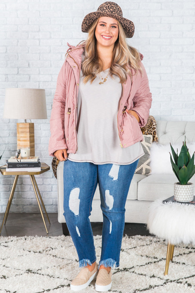 Ski Lessons Quilted Jacket In Blush