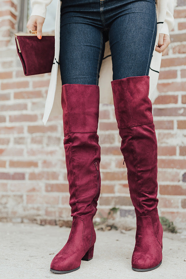 The Diana Faux Suede Thigh High Boot In Wine