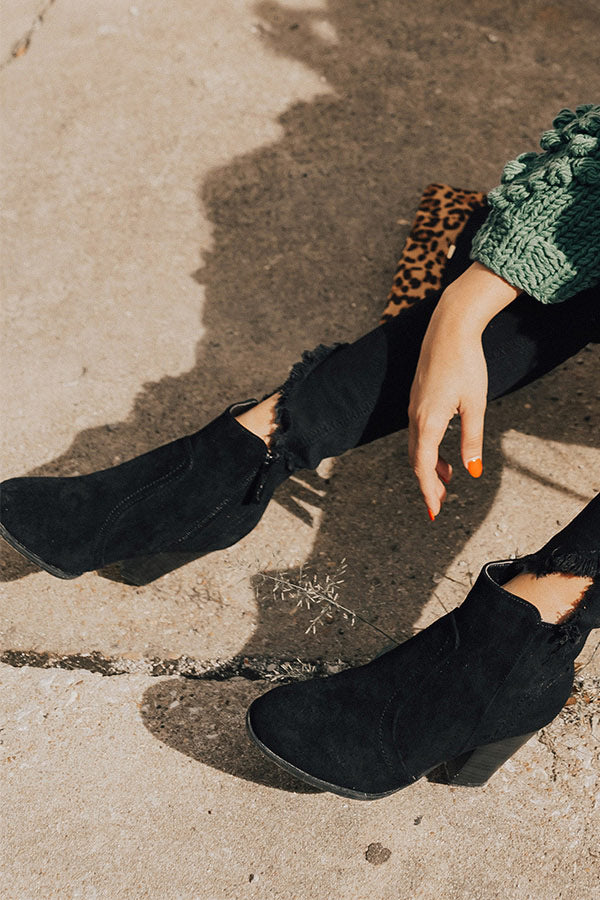 The Parton Faux Suede Bootie In Black