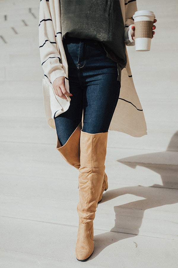 The Diana Faux Suede Thigh High Boot In