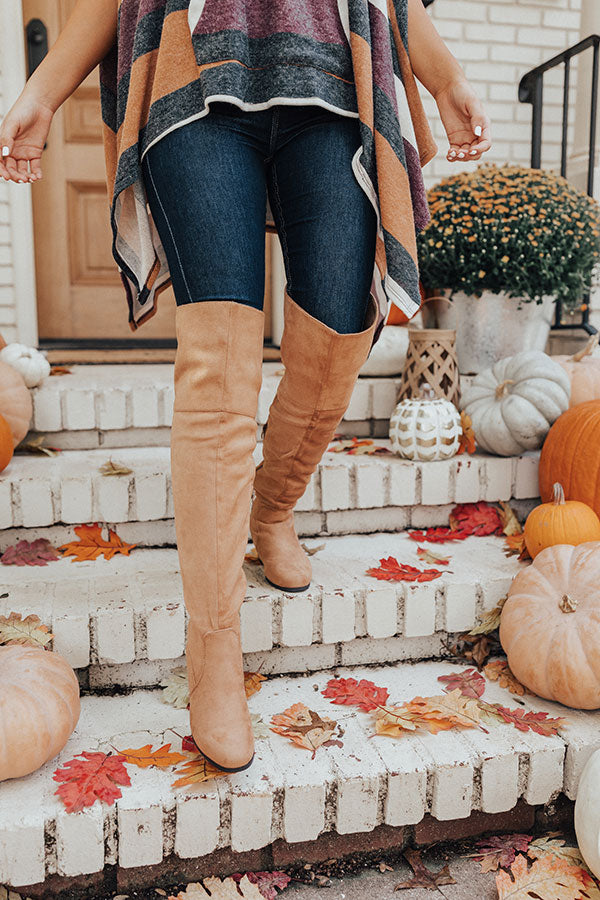 The Diana Faux Suede Thigh High Boot In Camel