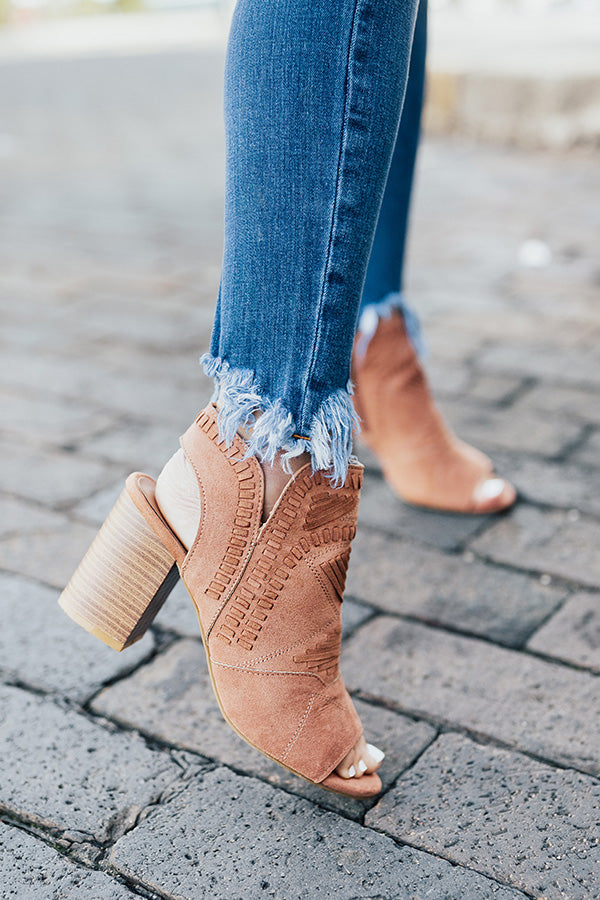 The Jude Peep Toe Bootie In Latte