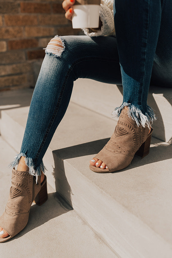 The Jude Peep Toe Bootie In Taupe
