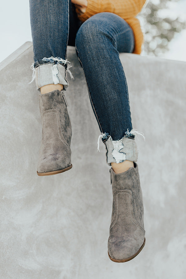 The Parton Faux Suede Bootie In Grey