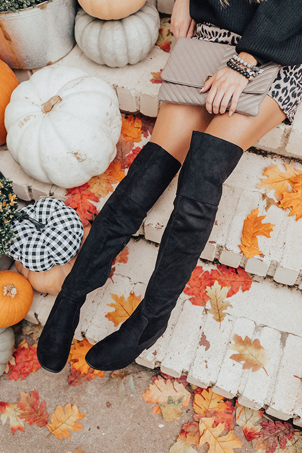 The Diana Faux Suede Thigh High Boot In Black