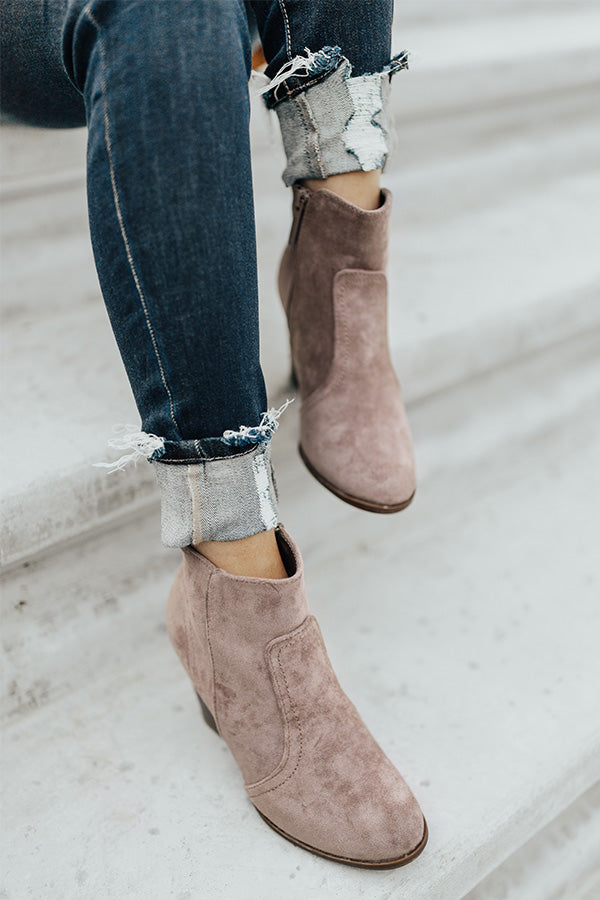 The Parton Faux Suede Bootie In Taupe