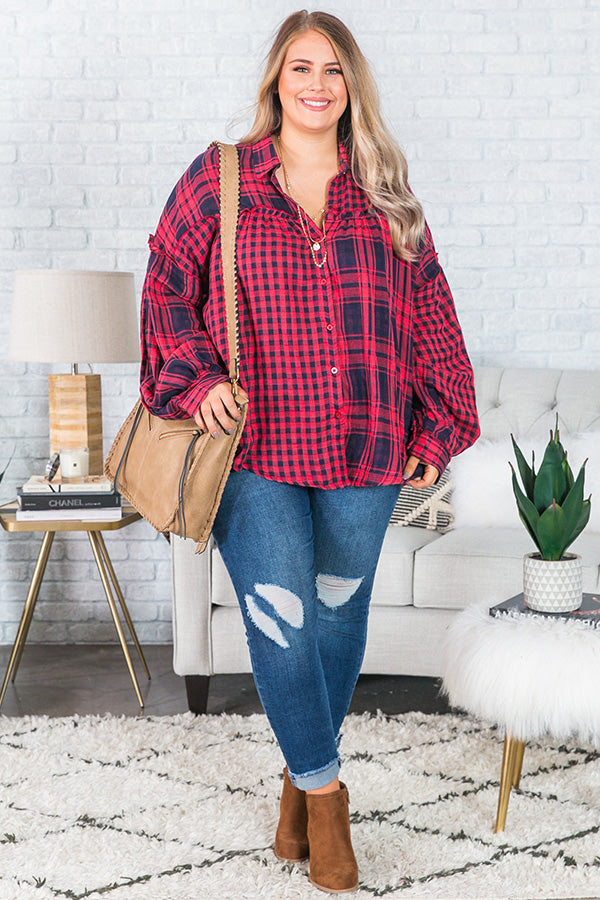 Cabin Weekend Plaid Top
