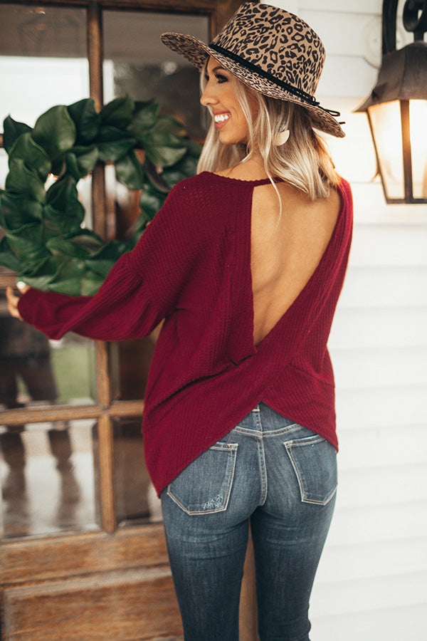 Vail Vacation Twist Back Waffle Knit Top