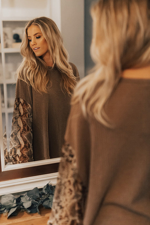 Hello Lovely Waffle Knit Shift Top In Mocha