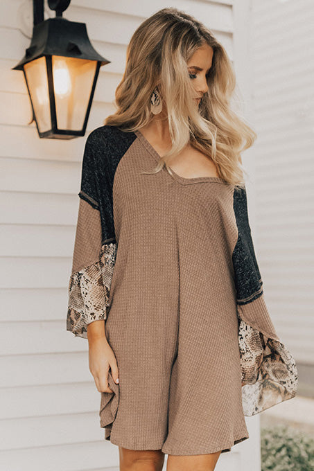 Martinis in Madison Waffle Knit Shift Dress In Mocha