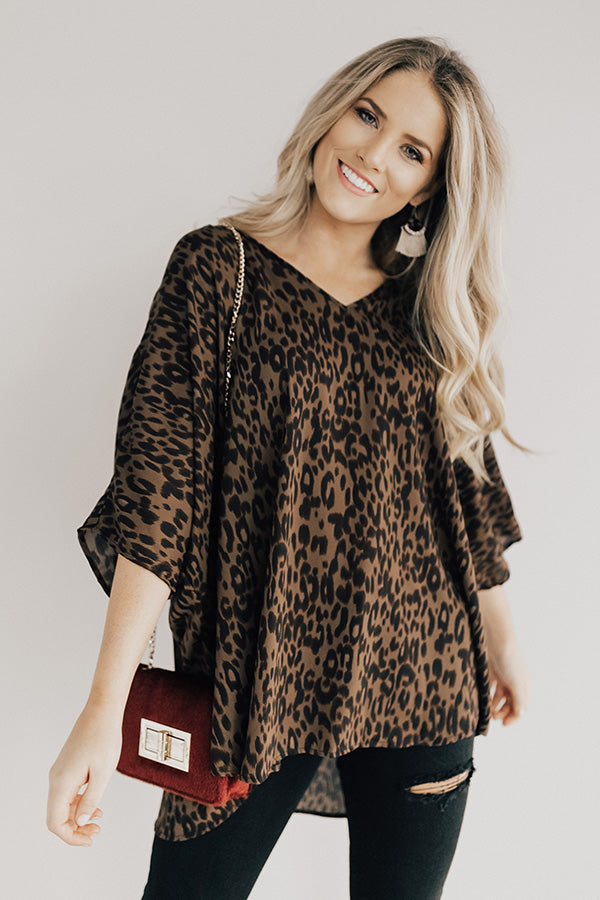 At The After Party Leopard Tunic in Brown