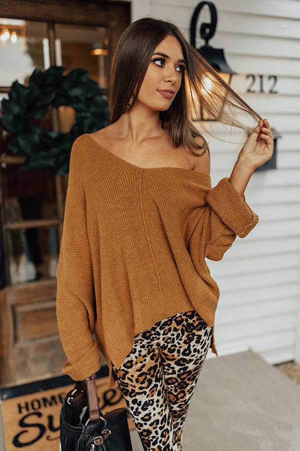 Ski Party Shift Sweater In Mustard