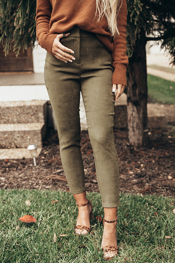 The Calvin Faux Suede High Waist Skinny In Olive