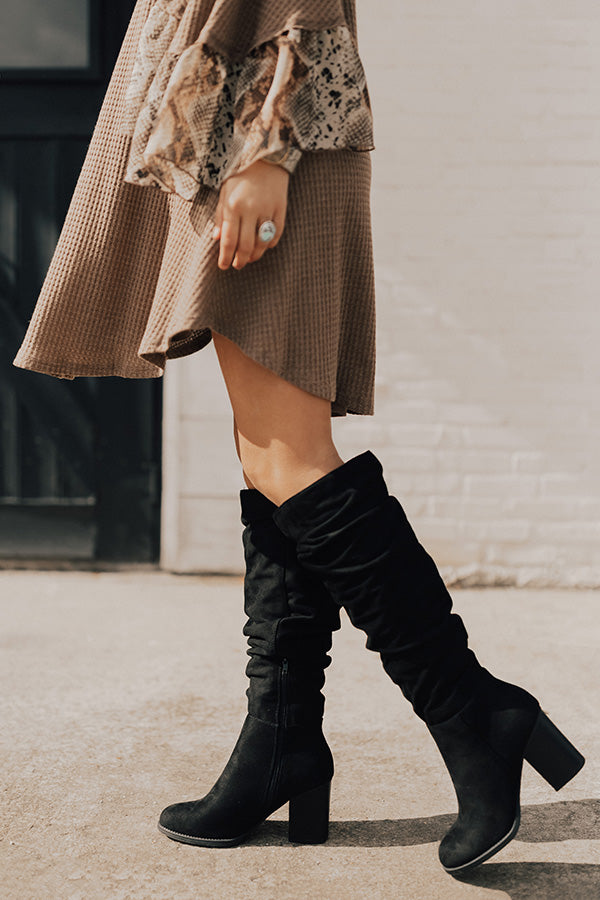 The Delilah Faux Suede Knee High Boot In Black