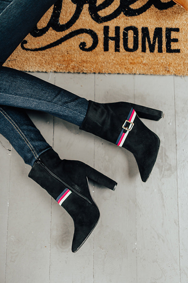 The Jet Set Faux Suede Bootie In Black