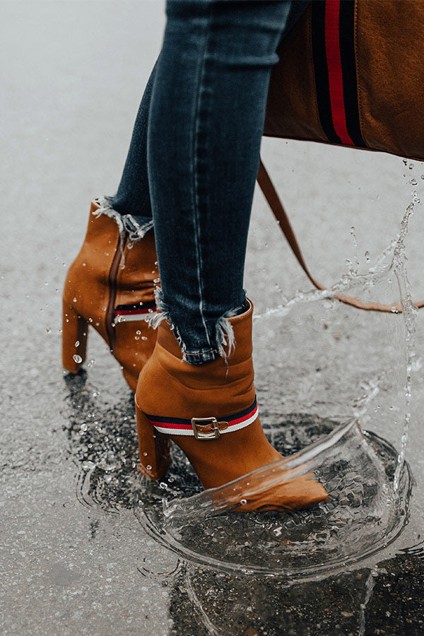 The Jet Set Faux Leather Bootie In Tan