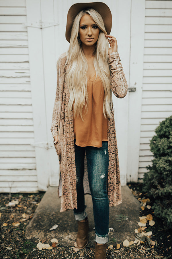 This Calls For Champagne Snake Print Cardigan in Brown