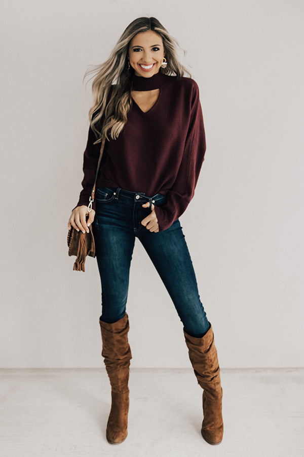 Girl Squad Shift Sweater In Windsor Wine