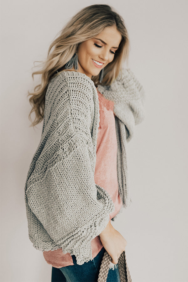Can't Stop The Cuddles Knit Cardigan In Grey