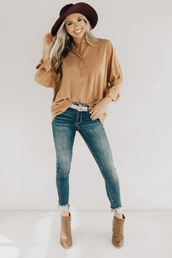 Teacher's Pet Shift Top in Iced Mocha