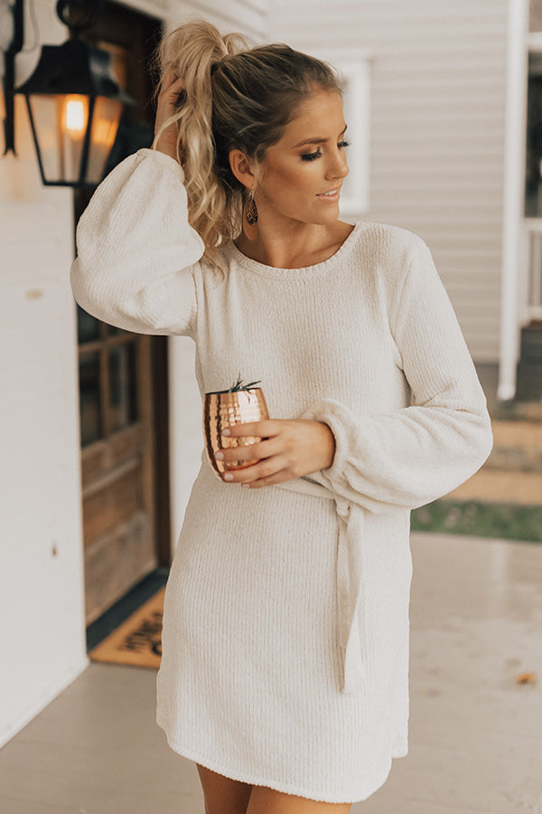 Keeping Cozy Chenille Sweater Dress in Ivory