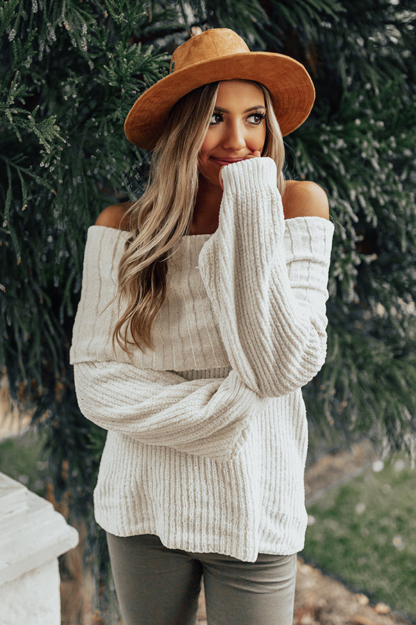Snow Valley Snuggles Chenille Sweater in Ivory